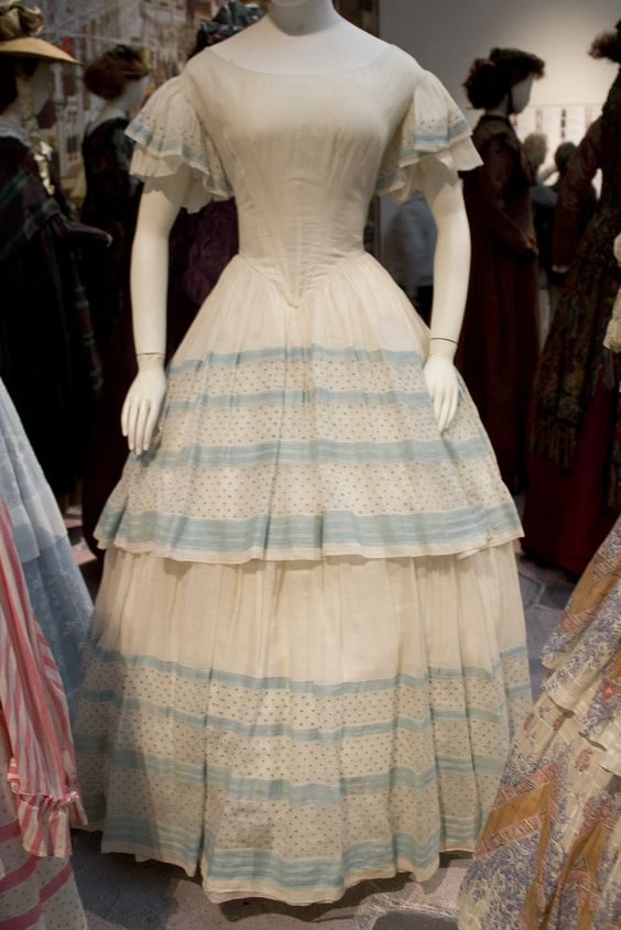 Gemeentemuseum the Hague exhibition on 19th century fashion - Victorian Dress ca 1855 cotton