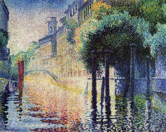 Rio San Trovaso, Venise, huile sur toile de Henri Edmond Cross (1856-1910, France)