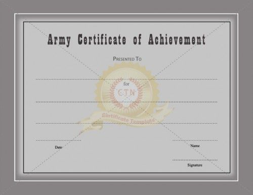 Certificate Of Achievement Template awarded for different – Army Certificate of Achievement Template