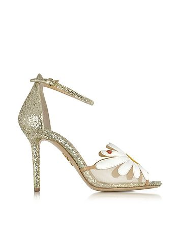 Charlotte+Olympia+Margherite+Platinum,+White+and+Sunshine+Yellow+Glitter+and+Leather+Sandal+