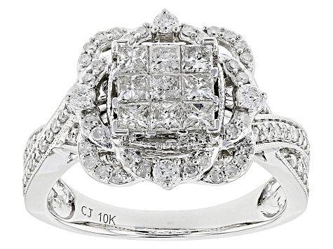 White Diamond 10k White Gold Ring 99ctw Rgd182 White Gold Rings Gold Rings White Gold