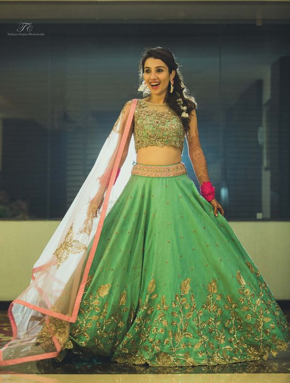 Light green embroidered Crop top lehnga for brides