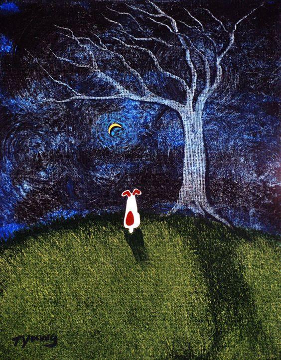 Jack Russell Terrier perro gran arte popular impresión de Todd Young pintura desnudo árbol