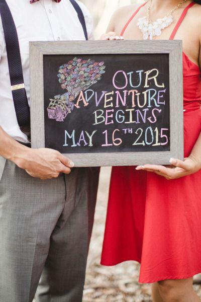 Save the date sign: http://www.stylemepretty.com/little-black-book-blog/2015/01/30/up-inspired-engagement-session/ | Photography: Aga Jones - http://www.agajonesphotography.com/
