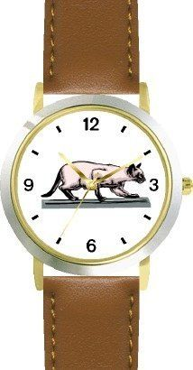 Siamese Cat - WATCHBUDDY® DELUXE TWO-TONE THEME WATCH - Arabic Numbers - Brown Leather Strap-Children's Size-Small ( Boy's Size & Girl's Size ) WatchBuddy. $49.95. Save 38% Off!
