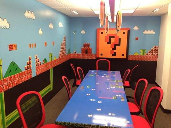 our mario themed conference room designed by our awesome ceo jim belosic awesome office conference room