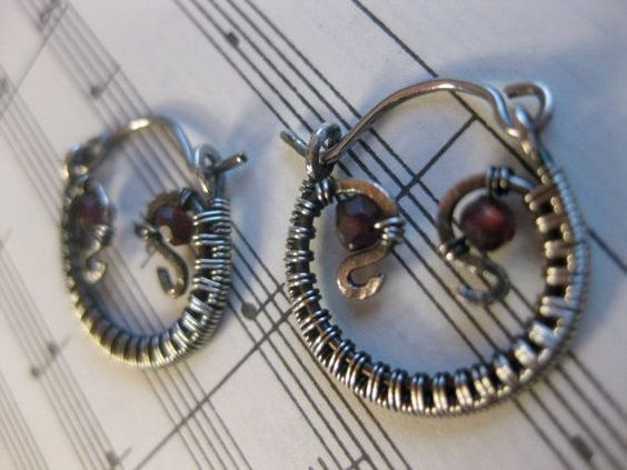 Cute wire wrapped beadwork sterling silver hoops, snakes and owl eyes ...