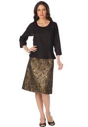 Fabalous Plus Size Black and Bronze Mixed Media Peplum Dress by Roaman's #OneStopPlus