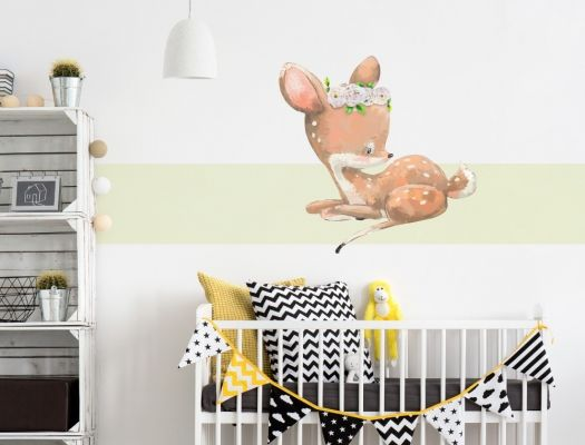 Wandtattoo Kinderzimmer Aquarell Reh Baby Mit Blumen I Love