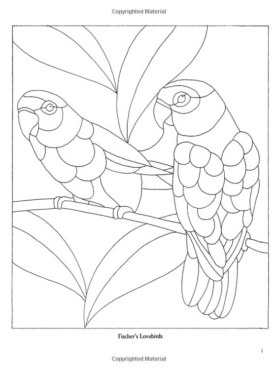 oil pastel coloring pages | Decorative Birds Stained Glass Pattern Book (Dover ...