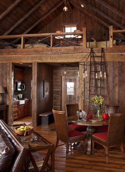 Cabin conversation area and loft on pinterest for Small cabin interiors photos