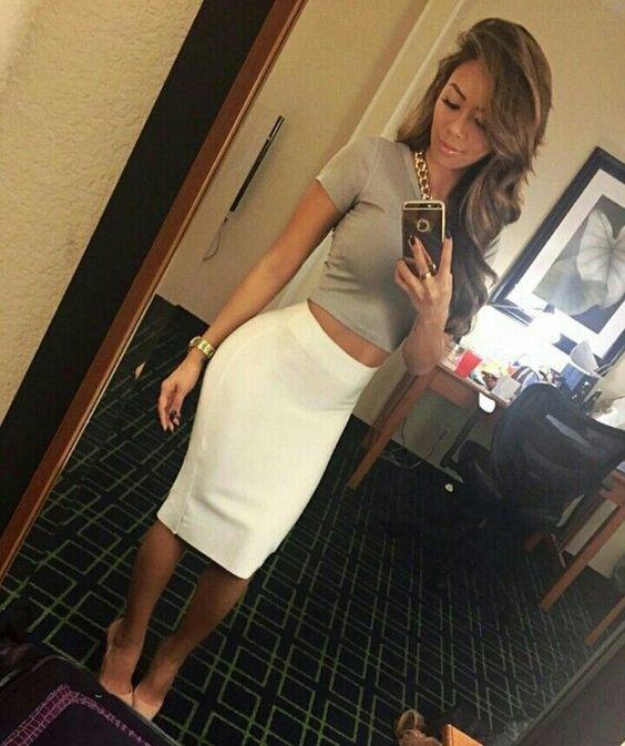 Crop top and pencil skirt