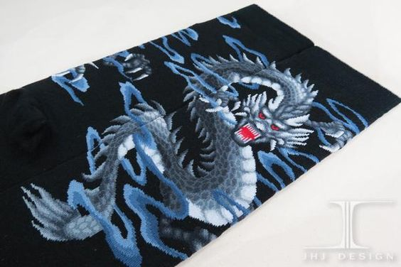 Dragon - Silver Dragon | JHJ Design - The Art of Wearing Socks