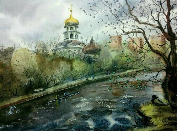 Lovely #pleinair #watercolor by Marina Chugunova (@chugunova.marina) which she painted along the shore of the Moskva River running through the Silver Forest preserve area in Moscow Russia.  There's an interesting almost dreamlike quality to the way that the vegetation and river were painted. Including just enough detail for you to know what it is that you're looking at Marina painted a few of the individual trees closer to the foreground in slightly different shades of green but then the…