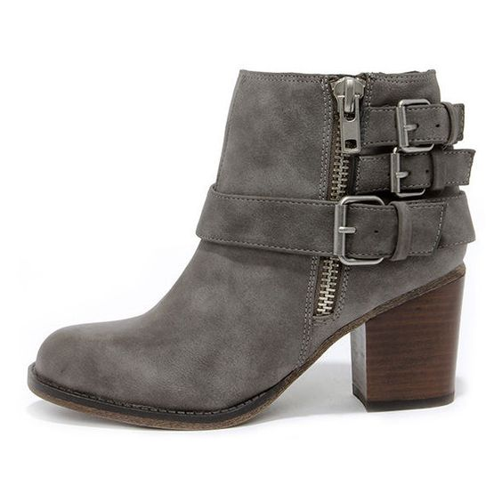 Madden Girl Wicker Taupe Buckled Ankle Boots (91 CAD) ❤ liked on ...