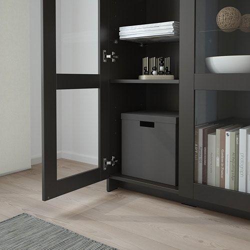 Brimnes Cabinet With Doors Glass Black 78x95 Cm Ikea Glass Cabinet Doors Cabinet Doors Brimnes