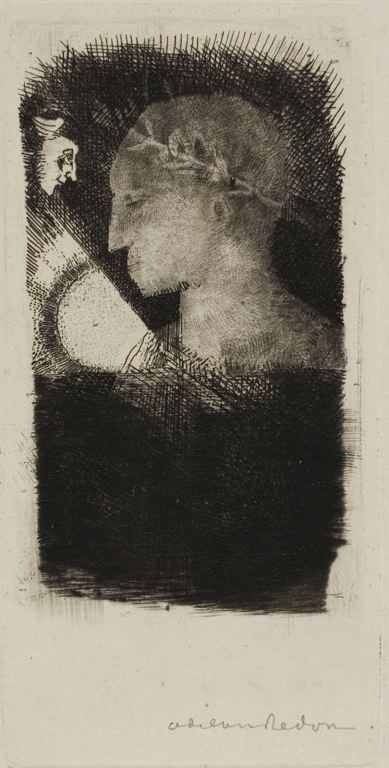 Odilon Redon - Adverse Glory, 1886, Etching and drypoint on ivory laid paper | The Art Institute of Chicago
