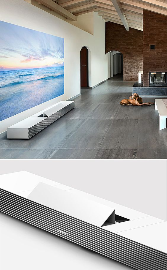 Sony 4K Ultra Short Throw Projector - It uses lasers to project a 4K display on the wall anywhere from 66- to 147-inches across & features 4 HDMI ports in the back for plugging in all your little dongles and whatnot. | Werd