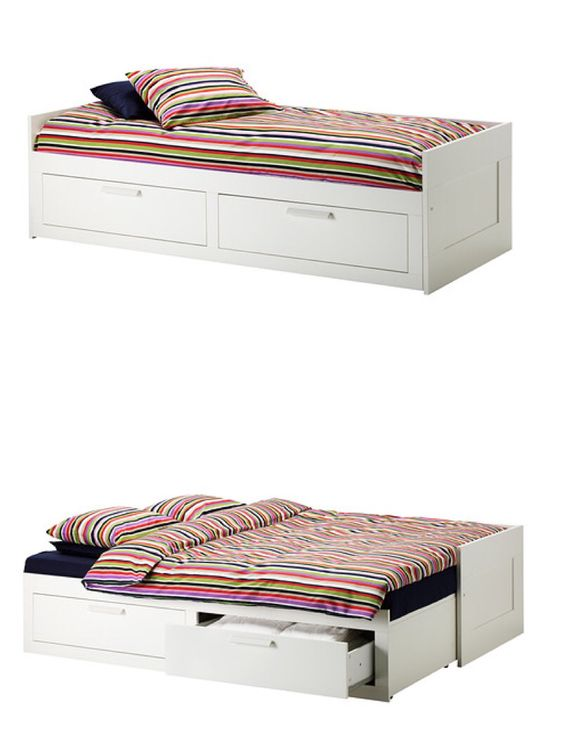Brimnes Daybed Frame With 2 Drawers White Twin Beds