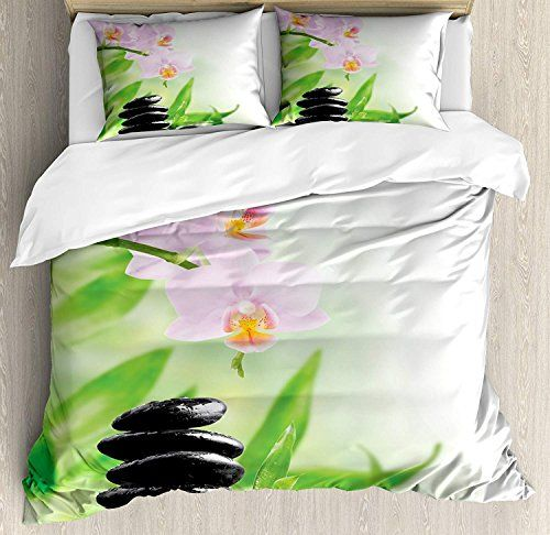Spa Duvet Cover Set Twin Size Zen Basalt Stones And Orchid With Dew Peaceful Nature Theraphy Massag Full Bedding Sets Queen Size Duvet Covers Bed Duvet Covers