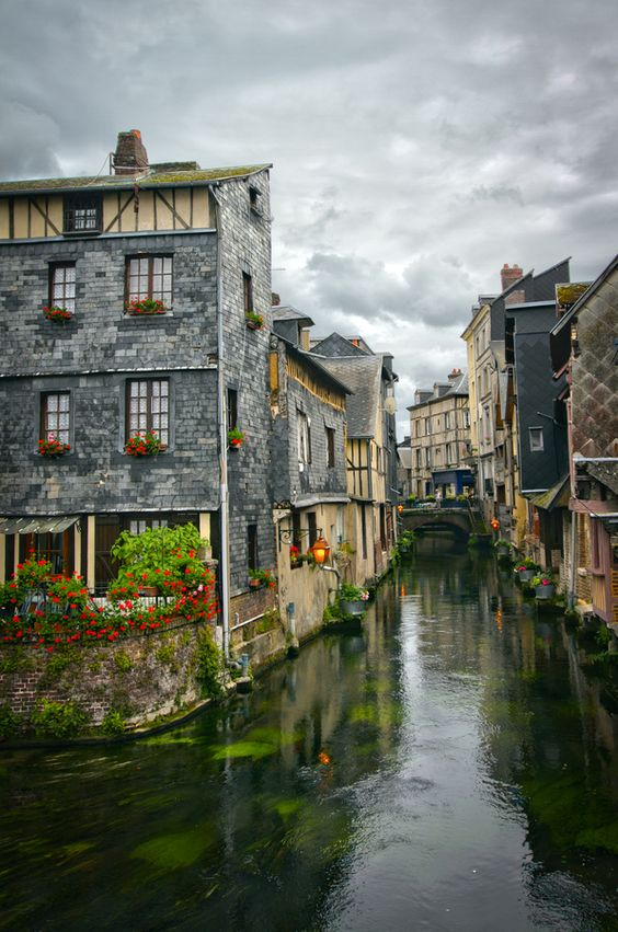 Pont Audemer - a small charming village in Normandy, France: