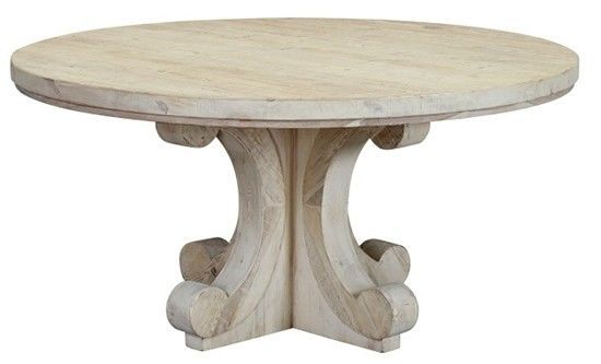 60 Celio Round Dining Table Solid Wood Vintage Distressed White