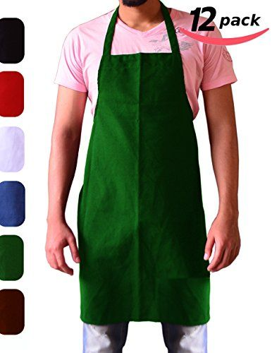 Utopia Kitchen Bib Aprons Cotton Polyester Commercial Restaurant, 12-Pack, Green Utopia Towels