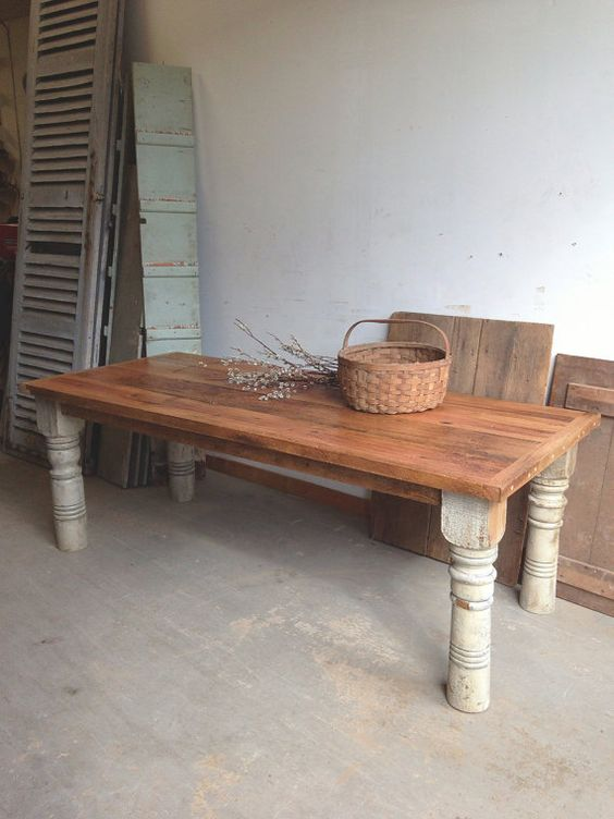 Custom reclaimed oak and pine farm table rustic barn wood for Farmhouse rustic oak