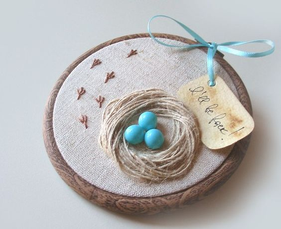 Organic hand embroidered wall hanging nest with robin eggs