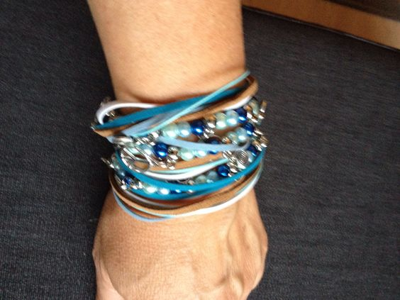 Wikkelarmband wit/blauw