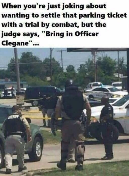 Officer Clegane, The Executioner of Gallowardolack : Bossfight   Super funny memes, Funny photos, Best funny photos