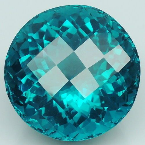 Captivating!!! 34ct. Paraiba Green Apatite Round&Checkerboard Table