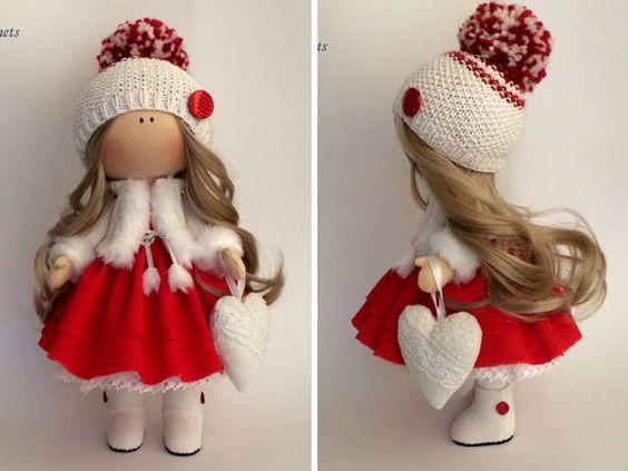 Navidad muñeca textil muñeca hecha a mano por AnnKirillartPlace: