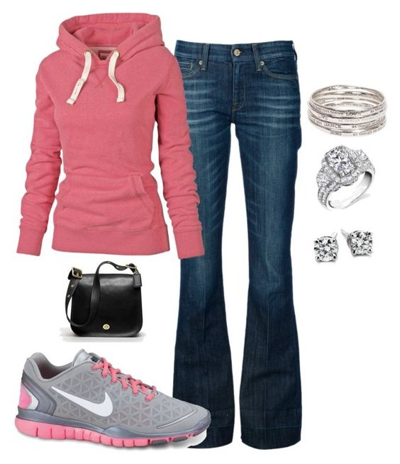 """""""I want to wear this today!"""" by hl-velazquez ❤ liked on Polyvore featuring 7 For All Mankind, Fat Face, NIKE, Blue Nile and Coach"""