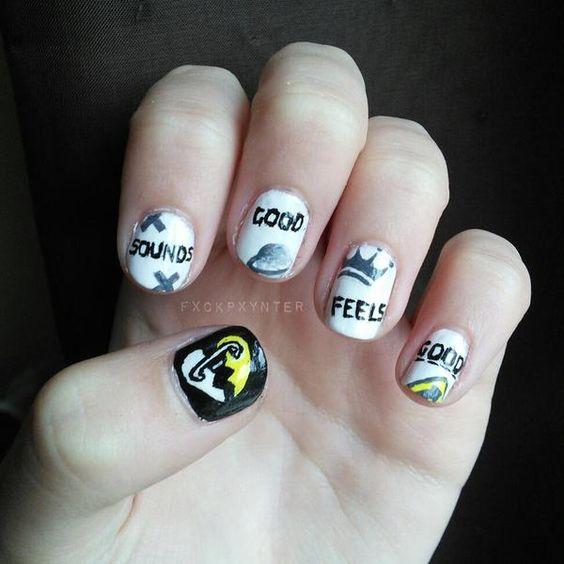 Really cute 5sos nails!