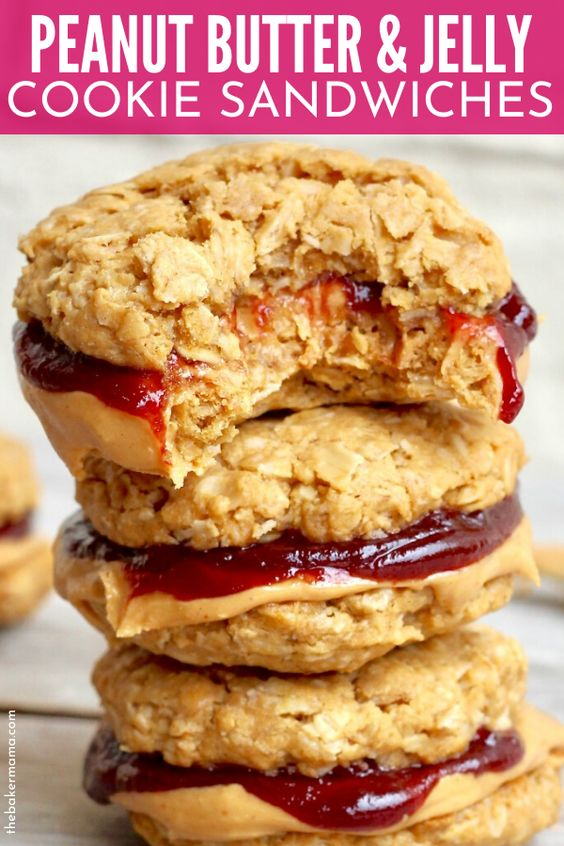 Flourless Peanut Butter & Jelly Cookie Sandwiches
