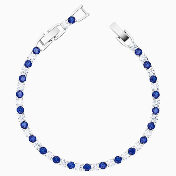Tennis Deluxe Bracelet Blue Rhodium Plated By Swarovski In 2020 Clear Crystal Bracelet Rhodium Plated Crystal Bracelets