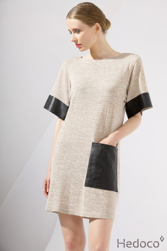 Tunic with a leather pocket    [Hedoco + Edyta Jermacz]