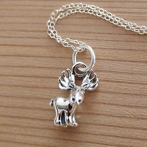 Moose Charm Necklace 925 Sterling Silver New Moose Necklace Elk Deer Canada | eBay