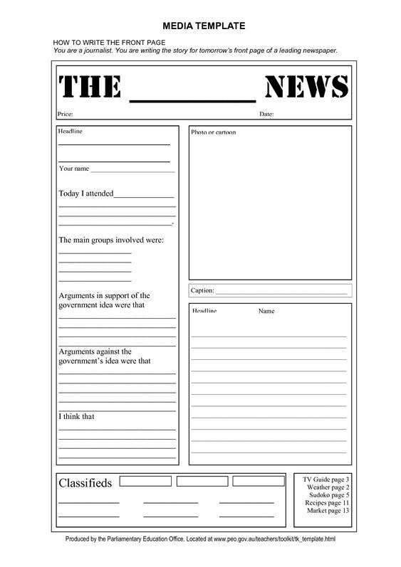 Old Newspaper Front Page Template