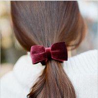 South Korea imported super- elegant velvet bow wild banana clip hair accessories hairpin very fine