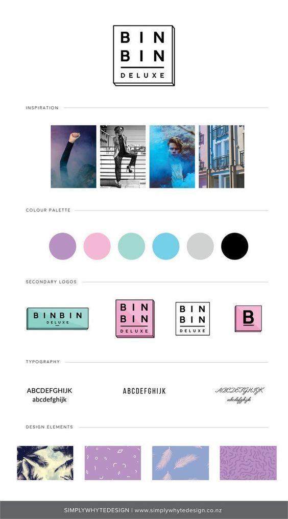 Bin Bin Deluxe - Simply Whyte Design | Auckland Brand Web Design #brandboard #moodboard #brandboardinspiration #moodboardinspiration #businessbranding #graphicdesign
