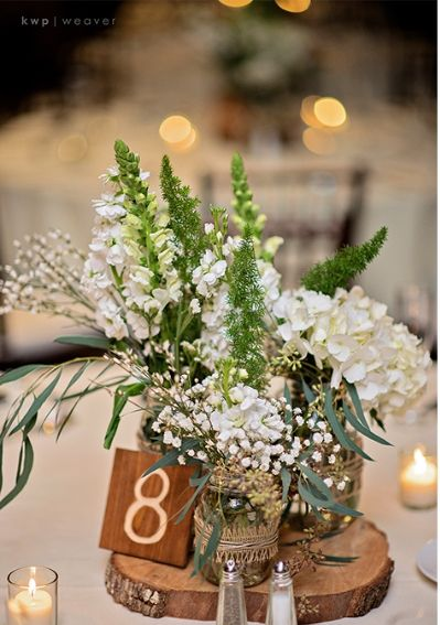 Rustic wedding centerpieces and