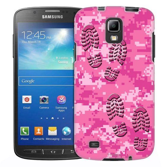 Samsung Galaxy S4 Active Footprints on Digital Grey Camouflage Slim Case