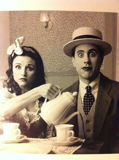 Julia Louis-Dreyfus and Jerry Seinfeld drinking tea!  What a shot!