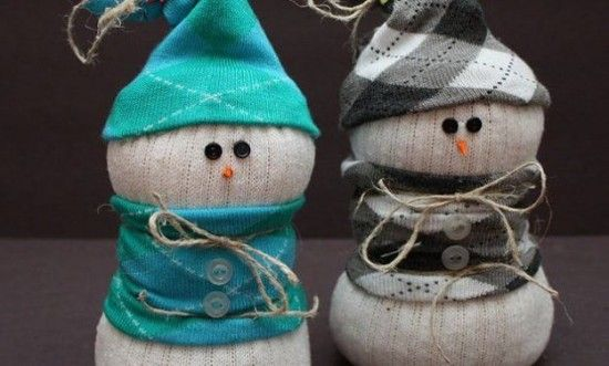 Muñeco de nieve calcetín