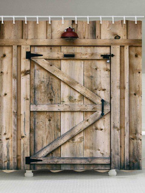 Wood Door Print Waterproof Shower Curtain Wood Doors Best Barns