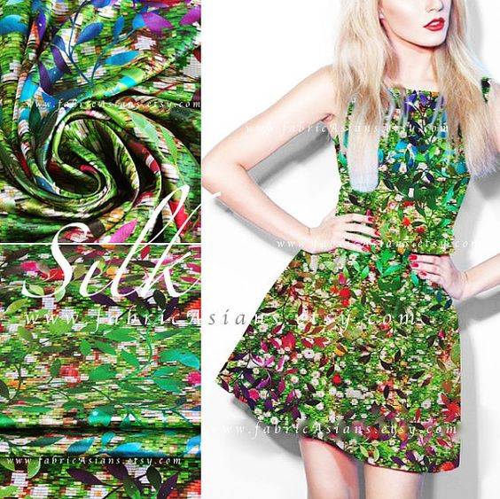 Green silk Dress leaves prints mosaic discount silk fabric by fabricAsians