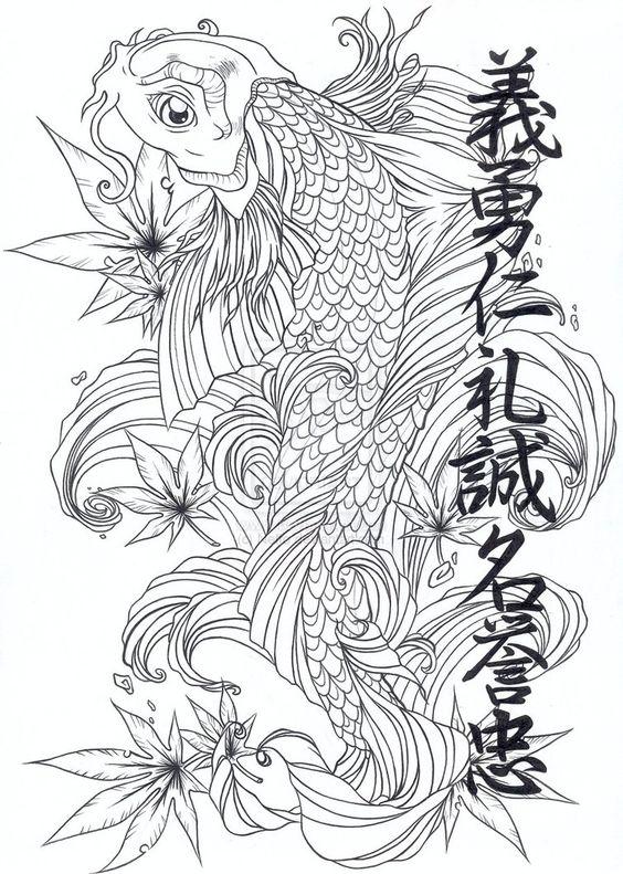 Oriental stencils designs free download koi japanese