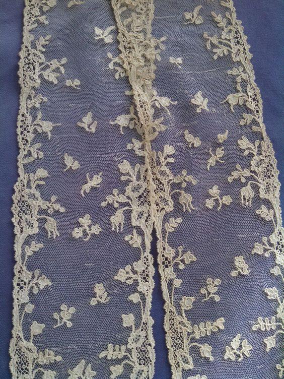 18thC Lace French Alencon Needle Lace Lappets | eBay